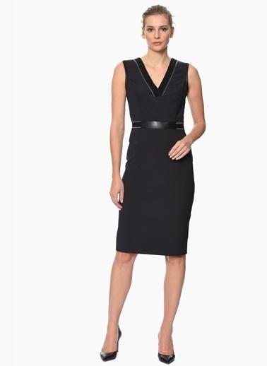 NetWork V Yaka Kalem Elbise Siyah